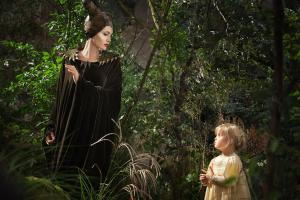 Maleficent with unafraid toddler Aurora, played by Jolie's real-life daughter, Vivienne