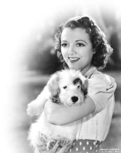 Janet Gaynor with puppy for Miss Fortune