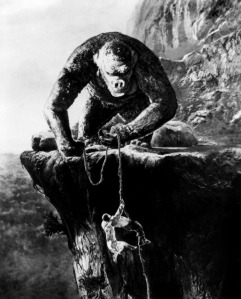 Kong pulling up Fay Wray and her other love interest, Bruce Cabot
