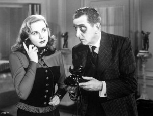 Deanna Durbin and Edward Everett Horton - with a black eye