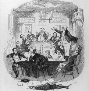 """Mr. Pickwick adressess the club""- original illustration by R. Seymour"
