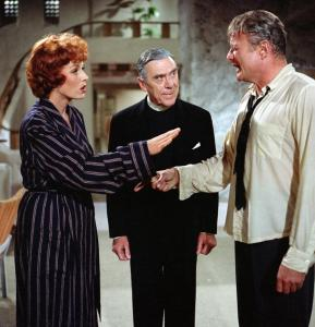 Maureen O'Hara and Brian Keith argue while Leo G. Carrol as Dr. Mosby watches with extreme enjoyment