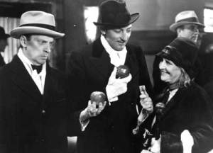 "Lady for a Day - Frank Capra's Depression Era, Prohibition Era Cinderella tale - Pictured is Ned Sparks, Warren William as Dave the Dude and May Robson as Apple Annie - the movie is based on Runyon's short story ""Madame La Gimp"""