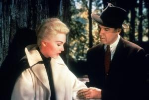 Kim Novak as Madeleine and James Stewart