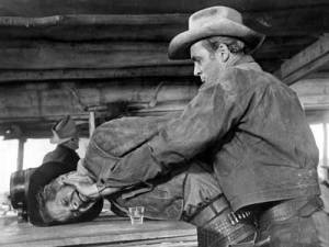 Dan Duryea is not getting the best of James Stewart