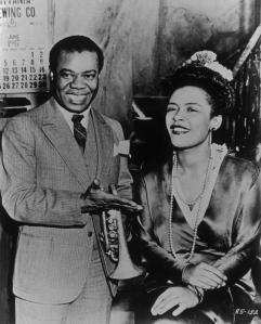 Billie Holiday with Louis Armstrong from the movie New Orleans