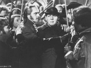 Valjean saves Javert's life at the barricade