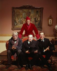 Sitting: Boris Karloff, Basil Rathbone, Peter Lorre, Vincent Price