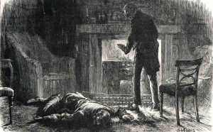 Jasper has fainted after learning from Mr. Gregious that Edwin and Rosa had decided - just before Edwin disappeared -not to marry. His extreme reaction seems to indicate distress that he killed Edwin needlessly