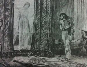 Holly Meets Ayesha - illustration from 1887, by E. K. Johnson