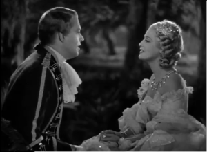 Nelson Eddy and Jeanette MacDonald singing a romantic song