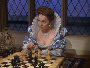 playing chess with the queen and conteplating taking the knight