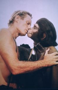 Charlton Heston and Kim Hunter - they couldn't bring themselves to kiss in the book (though they almost get swept away by emotion), but they couldn't get over how ugly the other looked